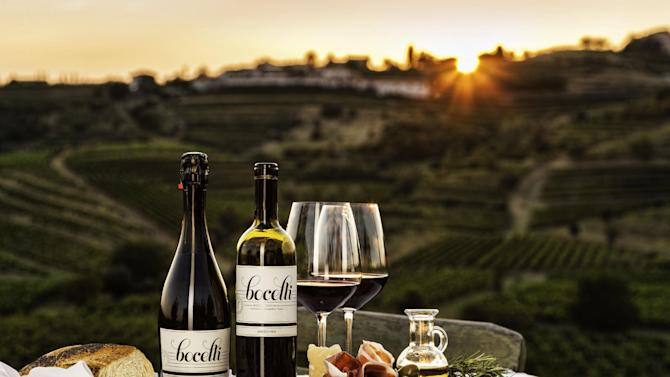 This undated publicity photo provided by August Wine Group shows Bocelli Family Wines overlooking the vineyards in Lajatico, Tuscany, Italy. Renowned tenor Andrea Bocelli of Bocelli Family Wines, put a new twist on the celebrity wine connection. Born into an Italian winemaking family, Bocelli pursued a singing career and has since returned to his roots helping promote the family wines. (AP Photo/August Wine Group)