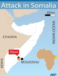 Map of Somalia locating the rebel stronghold of Afgoye. African Union and Somali troops have captured the strategic town of Afgoye from Al-Qaeda-linked Shebab insurgents, who mostly fled in advance of the assault, an AU army spokesman told AFP