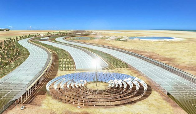 The £3m Sahara Forest Project aims to develop technologies to 'turn the desert green'. (Image: Sahara Forest Project)