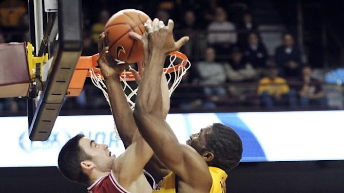 Minnesota's Trevor Mbakwe, right, and Indiana's Cody Zeller, left, battle for a rebound during the first half of an NCAA college basketball game, Tuesday, Feb. 26, 2013, in Minneapolis. (AP Photo/Tom Olmscheid)