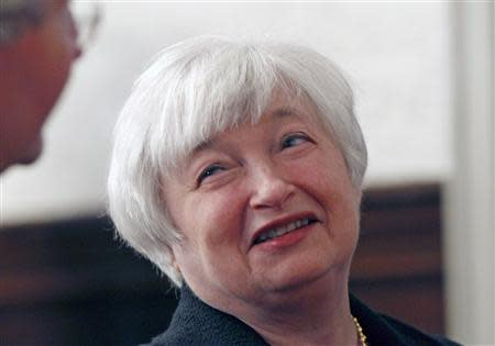 Yellen speaks to attendee prior to addressing the University of California Berkeley Haas School of Business in Berkeley