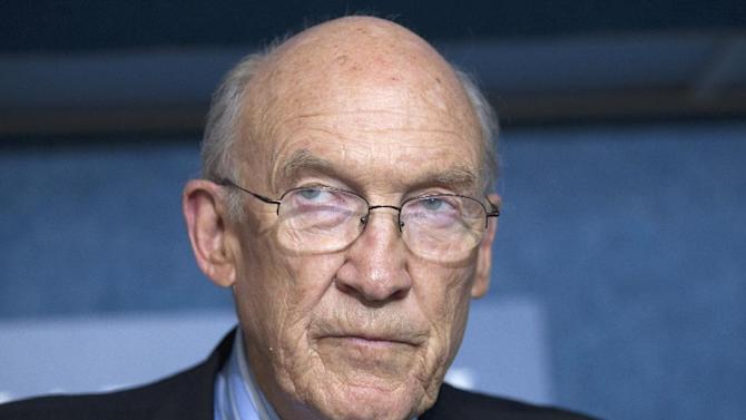 FILE - In this Sept. 12, 2011 file photo, Alan Simpson, speaks in Washington, D.C. A group of Republicans have come out in support of legalizing gay marriage in Utah and Oklahoma, arguing that allowing same-sex unions is consistent with the Western conservative values of freedom and liberty once championed by Ronald Reagan and Barry Goldwater. The group that includes former Sen. Alan Simpson of Wyoming and former Sen. Nancy Kassebaum of Kansas plans to file a friend of the court brief Tuesday, March 4, 2014, to a federal appeals court in Denver that is reviewing same-sex marriage bans in Utah and Oklahoma, said Denver attorney Sean Gallagher, whose firm wrote the 30-page argument. (AP Photo/Evan Vucci, File)