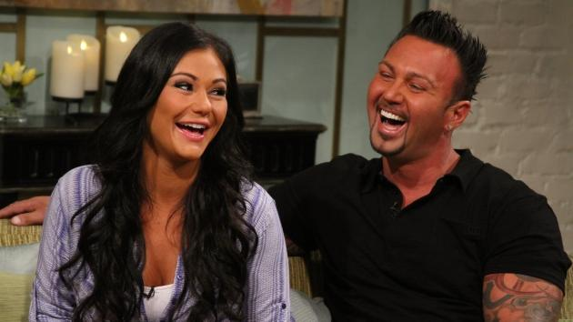 Jenni 'JWoww' Farley and boyfriend Roger laugh it up on the set of Access Hollywood Live set on July 23, 2012 -- Access Hollywood