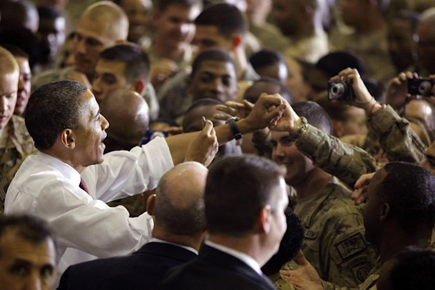 President Barack Obama addresses troops at Bagram Air Field, Afghanistan, Wednesday, May 2, 2012. (AP Photo/Charles Dharapak)