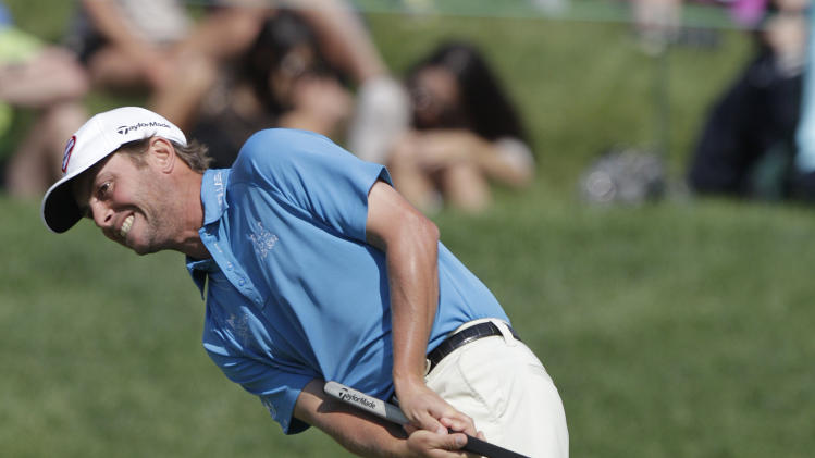 Spencer Levin reacts to missing a birdie putt on the 14th hole during the third round of the Memorial golf tournament Saturday, June 2, 2012, in Dublin, Ohio. Levin parred the hole. (AP Photo/Jay LaPrete)