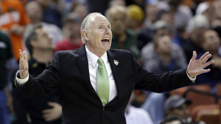 Miami head coach Jim Larranaga reacts during the second half of a third-round game of the NCAA college basketball tournament against the Illinois Sunday, March 24, 2013, in Austin, Texas. (AP Photo/Eric Gay)