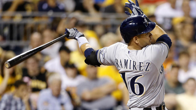 Ramirez hits 350th homer as Brewers top Pirates