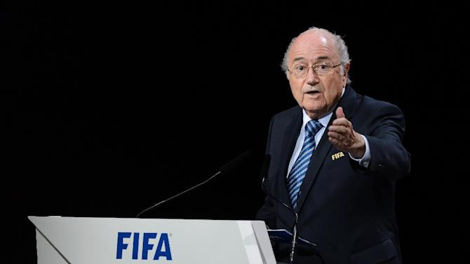 FIFA President Sepp Blatter delivers his speech at the opening of the FIFA Congress in Zurich on May 29, 2015