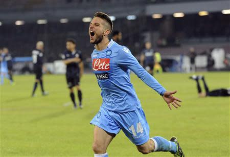Napoli's Mertens celebrates after scoring against Inter Milan during their Italian Serie A match at San Paolo stadium in Naples