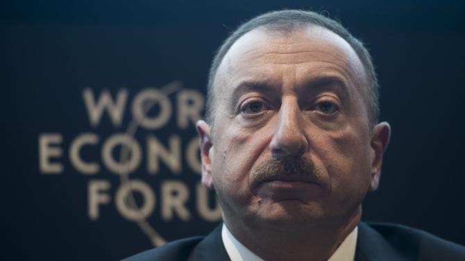 Ilham Aliyev, president of Azerbaijan, speaks during a panel session on the first day of the 43rd Annual Meeting of the World Economic Forum, WEF, in Davos, Switzerland, Wednesday, Jan. 23, 2013.  (AP Photo/Keystone/Jean-Christophe Bott)