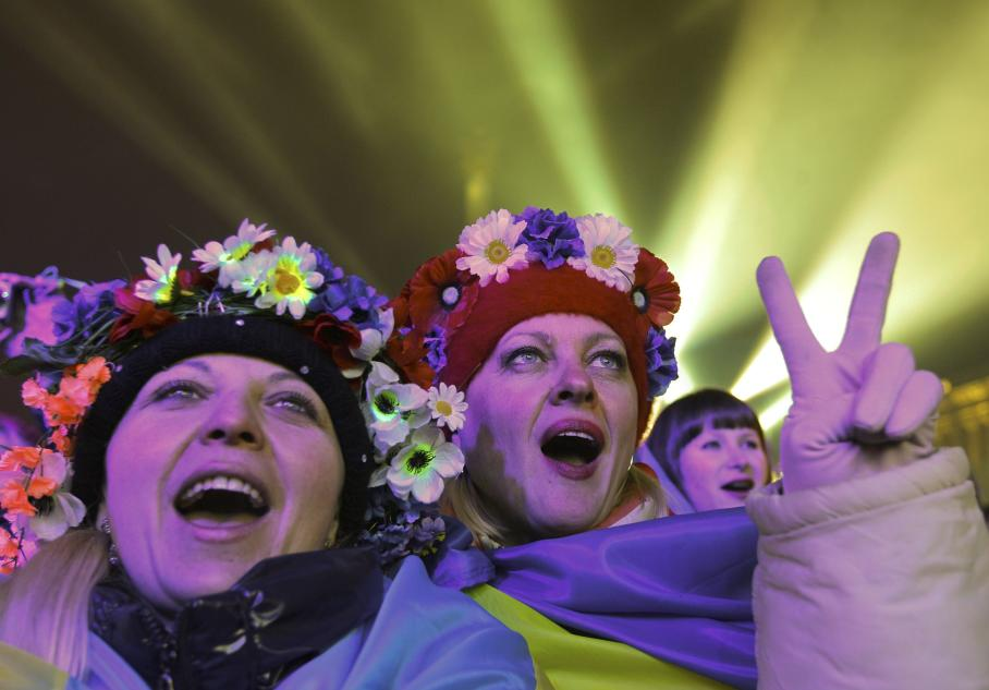 Pro-European integration supporters take part in New Year celebrations at Independence square in central Kiev