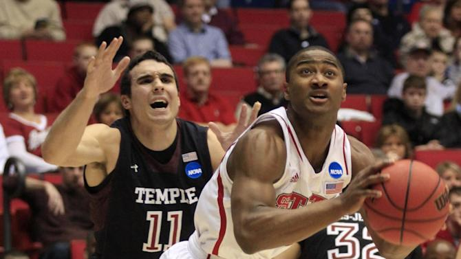 CORRECTS BYLINE - North Carolina State guard Rodney Purvis drives past Temple guard T.J. DiLeo (11) in the first half of a second-round game at the NCAA college basketball tournament, Friday, March 22, 2013, in Dayton, Ohio. (AP Photo/Skip Peterson)