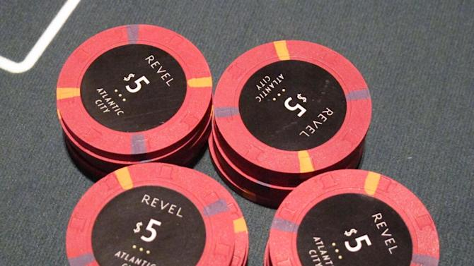 "This March 28, 2012, photo, shows gambling chips at the new Revel casino in Atlantic City, N.J., on a table during a ""test night."" The $2.4 billion casino-resort opens its doors to the public Monday, April 2. (AP Photo/Wayne Parry)"