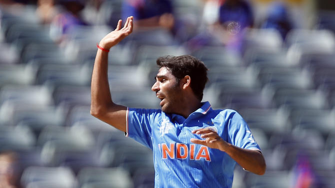 India's Bhuvneshwar Kumar appeals for the wicket of United Arab Emirates batsman Amjad Ali  during their Cricket World Cup Pool B match in Perth, Australia, Saturday, Feb 28, 2015. (AP Photo/Theron Kirkman)