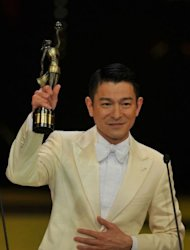 Hong Kong actor Andy Lau reacts after winning the Best Actor award at the 31st Hong Kong Film Awards. The annual Hong Kong Film Awards -- celebrating its 31st edition this year -- is one of the two Chinese film&#39;s industry most prestigious events, alongside Taiwan&#39;s Golden Horse Awards