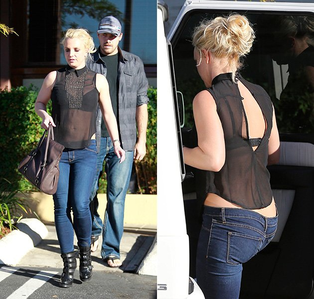 Britney Spears im transparenten Top beim Shopping (Bilder: Action Press)