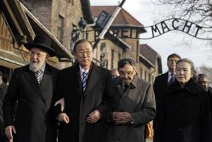 U.N. Secretary General Ban and his wife Yoo visit the Auschwitz-Birkenau memorial and former concentration camp