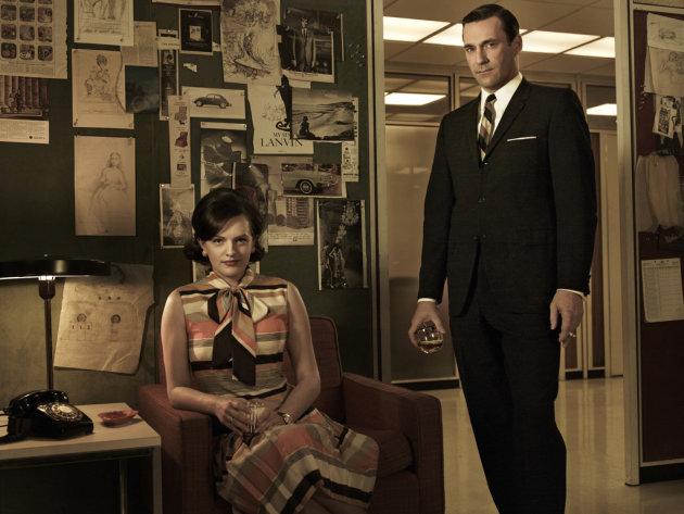 Elisabeth Moss as Peggy Olson and Jon Hamm as Don Draper in &quot;Mad Men.&quot; 