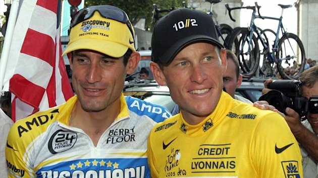 Lance Armstrong (right) poses with Discovey and USPS team-mate George Hincapie after the 2005 Tour De France. Hincapie admitted the pair doped throughout their time at USPS