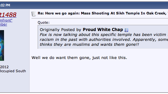 Watching White Supremacists React to the Sikh Temple Shooting