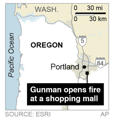 Map locates a shooting at a mall in Portland, Oregon.