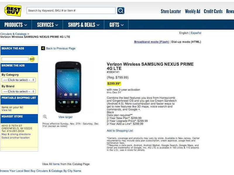 samsung galaxy nexus best buy page