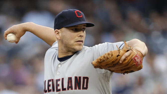 Cleveland Indians starting pitcher Justin Masterson delivers in the first inning against the New York Yankees in a baseball game at Yankee Stadium in New York, Monday, June 3, 2013. (AP Photo/Kathy Willens)