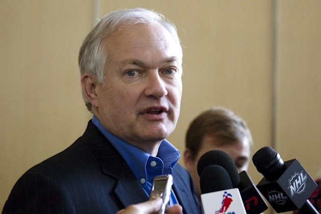 Donald Fehr, executive director of the NHL Players&#39; Association, talks to journalists after leaving hockey labor negotiations with the NHL, Monday, Aug. 13, 2012, in Toronto. (AP Photo/The Canadian Press, Chris Young)