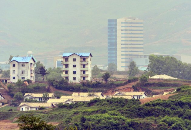 The Inter-Korean Kaesong Industrial Complex (KIC) inside the North Korean border, is seen from an South Korean observation post near the truce village of Panmunjom in Paju