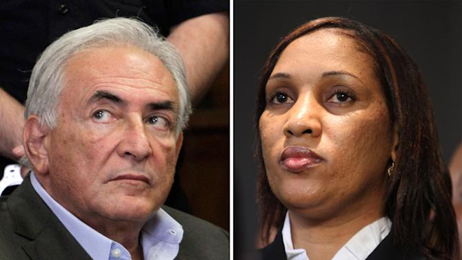 This combo made from file photos shows former International Monetary Fund chief leader Dominique Strauss-Kahn on May 19, 2011, left, and Nafissatou Diallo on July 28, 2011, in New York. A person familiar with the case says Strauss-Kahn and Diallo, a New York City hotel maid who accused him of trying to rape her, have reached an agreement to settle her lawsuit. The person spoke to The Associated Press on Thursday on condition of anonymity to discuss the private negotiation. The details of the deal are unknown. (AP Photo, File)