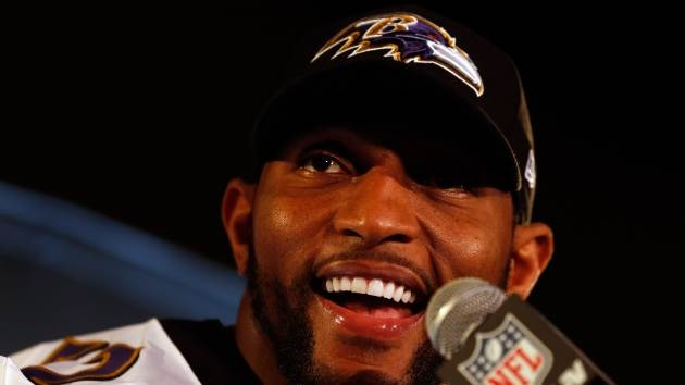 Linebacker Ray Lewis #52 of the Baltimore Ravens addresses the media during Super Bowl XLVII Media Availability at the Hilton New Orleans Riverside on January 30, 2013 in New Orleans, Louisiana  -- Getty Images