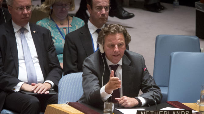 Belgium Foreign Minister Benedicte speaks after Russia vetoed a draft resolution in the Security Council to create a tribunal to prosecute those found responsible for the downing of Malaysia Airlines Flight 17 over eastern Ukraine, Wednesday, July 29, 2015 at U.N. headquarters.  (AP Photo/Bebeto Matthews)