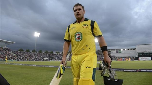 Australia's Aaron Finch leaves the field after scoring 156 runs during the first T20 international against England at the Rose Bowl (Reuters)