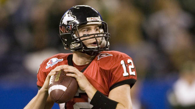FILE - In this Jan. 2, 2010, file photo, Northern Illinois quarterback Chandler Harnish looks to pass against South Florida during the first half of the International Bowl NCAA college football game in Toronto. The Indianapolis Colts selected Harnish, the Mid-American Conference offensive player of the year, with the final pick in this weekend's draft, No. 253 overall. (AP Photo/The Canadian Press, Chris Young, File)
