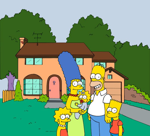 "FILE - This undated frame from the Fox series ""The Simpsons,"" shows the popular cartoon family posing in front of their home, from left, Lisa , Marge , Maggie, Homer and Bart Simpson. Television netwo"