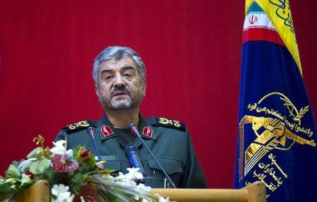 Iran's Revolutionary guards commander Mohammad Ali Jafari speaks during a conference to mark the martyrs of terrorism in Tehran