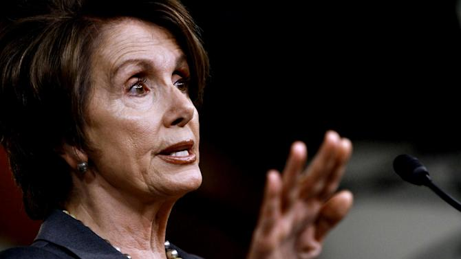 House Minority Leader Nancy Pelosi of Calif. gestures during her weekly a news conference on Capitol Hill in Washington, Thursday, April 26, 2012. (AP Photo/Jacquelyn Martin)
