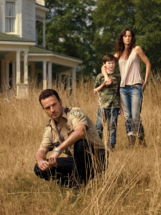 Andrew Lincoln as Rick Grimes, Chandler Riggs as Carl Grimes and Sarah Wayne Callies as Lori Grimes on &quot;The Walking Dead.&quot; 