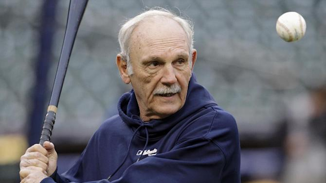 Detroit Tigers manager Jim Leyland hits during a baseball workout at Comerica Park in Detroit, Friday, Oct. 26, 2012. The Tigers host the San Francisco Giants in Game 3 of baseball's World Series on Saturday. The Giants lead the best-of-seven games series 2-0. (AP Photo/Patrick Semansky)