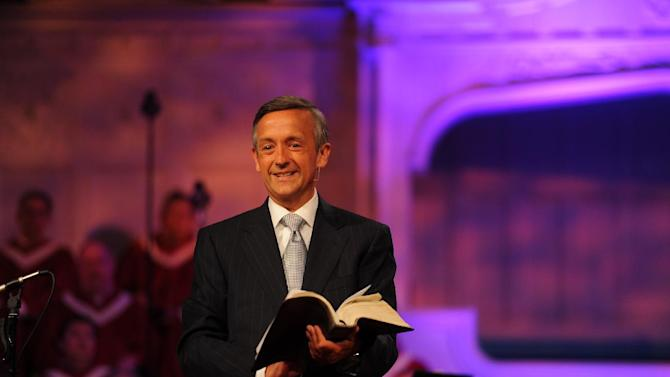 """This undated photo provided by First Baptist Church shows The Rev. Robert Jeffress. The Baptist pastor of the 11,000-member Dallas church hasn't stopped preaching that homosexual sex is sinful, but he no longer singles it out for special condemnation. Now, Jeffress says, he usually talks about homosexuality within """"a bigger context of God's plan for sex between one man and one woman in a lifetime relationship called marriage."""" (AP Photo/First Baptist Church, Luke Edmonson)"""