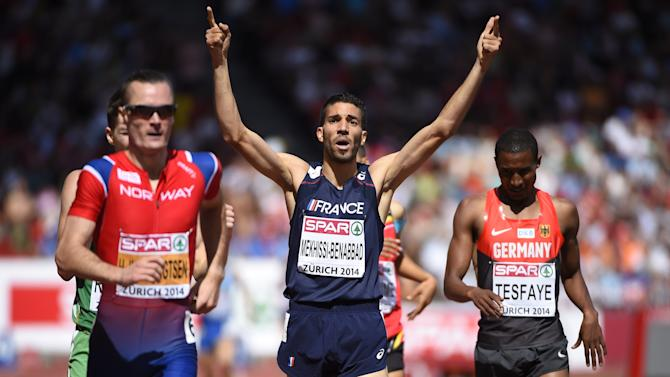 France's Mahiedine Mekhissi-Benabbad (C) wins the men's 1500m final at the European Athletics Championships in Zurich's Letzigrund stadium on August 17, 2014
