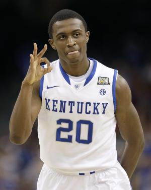 Kentucky's Doron Lamb reacts during the first half of the NCAA Final Four tournament college basketball championship game against Kansas Monday, April 2, 2012, in New Orleans. (AP Photo/David J. Phillip)