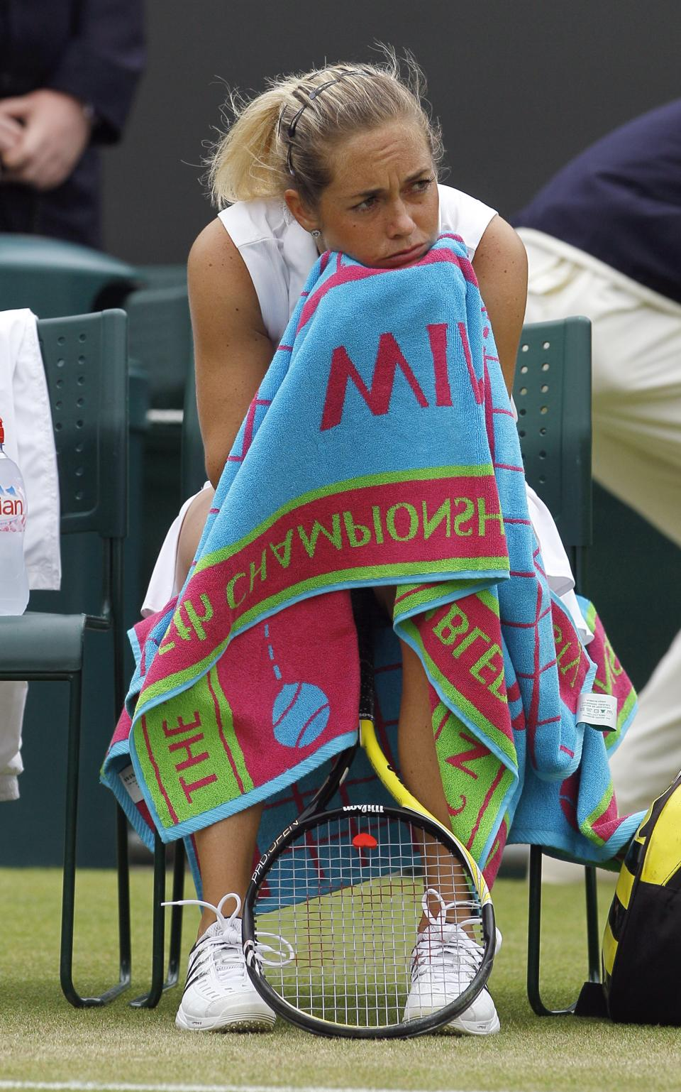 Klara Zakopalova of the Czech Republic looks dejected after being defeated by Russia's Maria Sharapova in their match at the All England Lawn Tennis Championships at Wimbledon, Saturday, June 25, 2011. (AP Photo/Kirsty Wigglesworth)