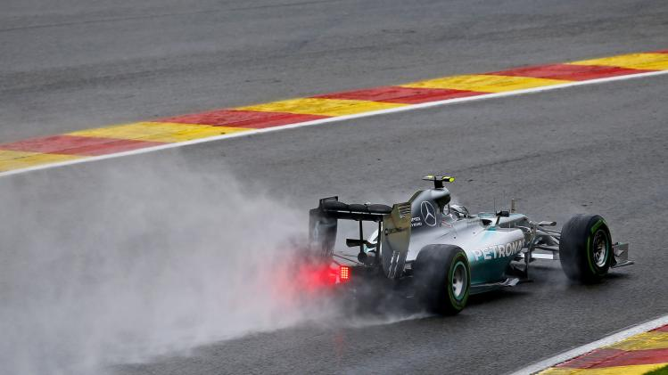 Mercedes Formula One driver Rosberg brakes during the qualifying session at the Belgian F1 Grand Prix in Spa-Francorchamps