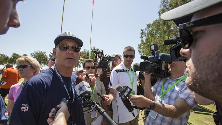 Dallas Cowboys defensive coordinator Rod Marinelli talks to the media after a morning practice at NFL football training camp, Wednesday, July 30, 2014, in Oxnard, Calif. (AP Photo/Ringo H.W. Chiu)
