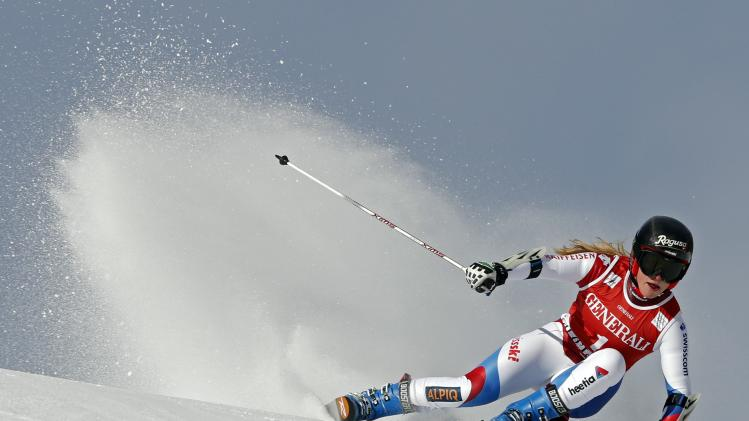 Switzerland's Gut skis during the Women's World Cup Giant Slalom skiing race in Val d'Isere