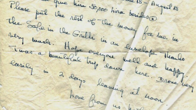 "This photo released by the John F. Kennedy Presidential Library and Museum in Boston on Wednesday, March 28, 2012, shows a portion of an Aug. 6, 1953, letter handwritten by Ernest Hemingway to his Italian friend Gianfranco Ivancich. He signed it, ""Love from us both, Mr. Papa."" It is one of a dozen unpublished letters Hemingway wrote to Ivancich that the museum made public on Wednesday. Experts say the letters demonstrate tenderness in Hemingway's character that wasn't necessarily part of his public persona. (AP Photo/John F. Kennedy Presidential Library and Museum)"