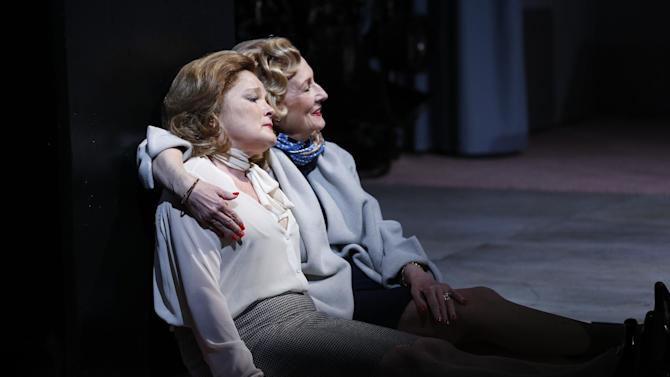 "This undated publicity photo released by Sam Rudy Media Relations shows Kate Mulgrew, left, and Kathleen Chalfant in a scene from Jenny Schwartz's new play, ""Somewhere Fun,"" currently performing off-Broadway at the Vineyard Theatre in New York.  (AP Photo/ Sam Rudy Media Relations, Carol Rosegg)"