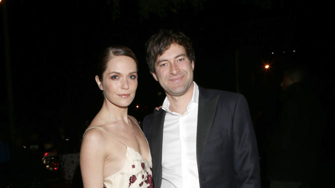 Katie Aselton and Mark Duplass attend the W Magazine's Best Performances and Golden Globe Awards Party Presented by Cadillac, on Friday, January, 11, 2013 in Los Angeles. (Photo by Todd Williamson/Invision for Cadillac/AP Images)