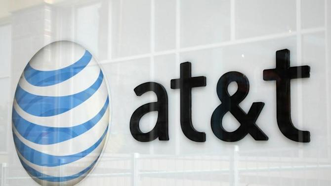 A view shows the AT&T store sign in Broomfield, Colorado